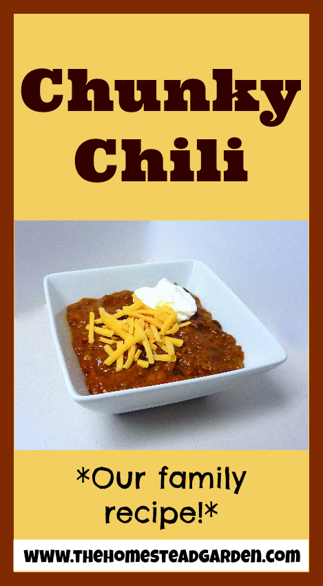 My Family's Chunky Chili Recipe: the perfect blend between meat, tomatoes, and peppers.