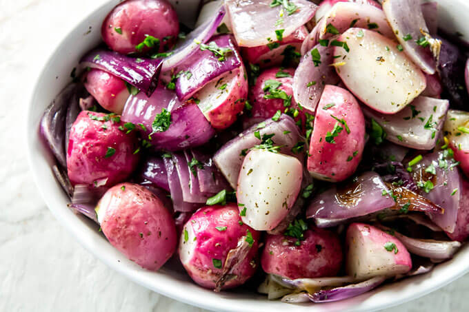 20+ Radish Recipes: Roasted Radishes with Red Onions