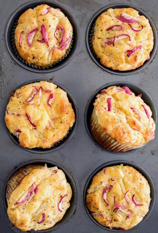 20+ Radish Recipes: Savory Radish and Goat Cheese Muffins