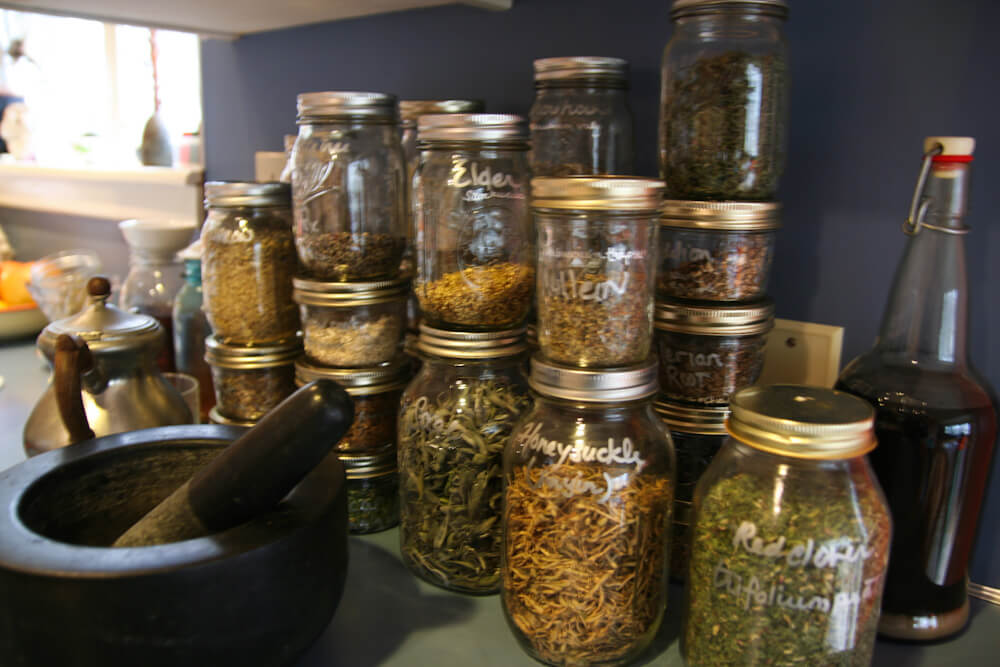 Why Digestive Bitters are Important: jars of dried herbs
