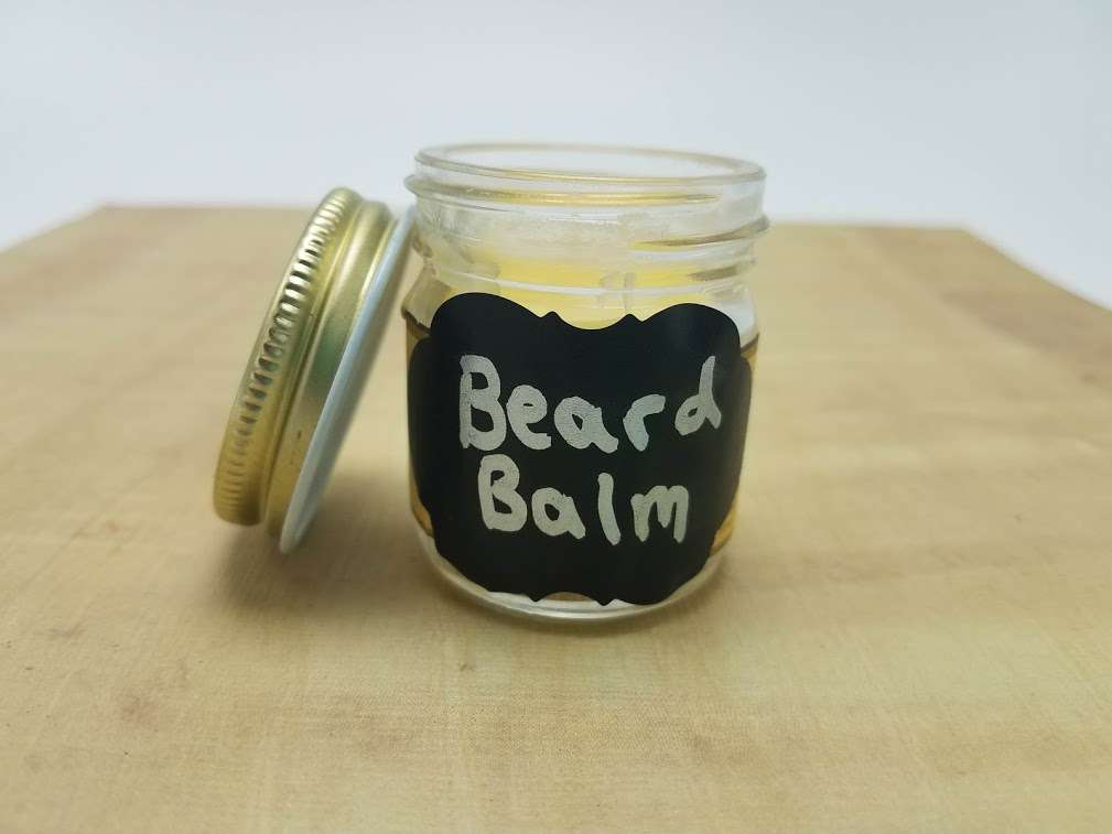 My cute little homemade beard balm jars