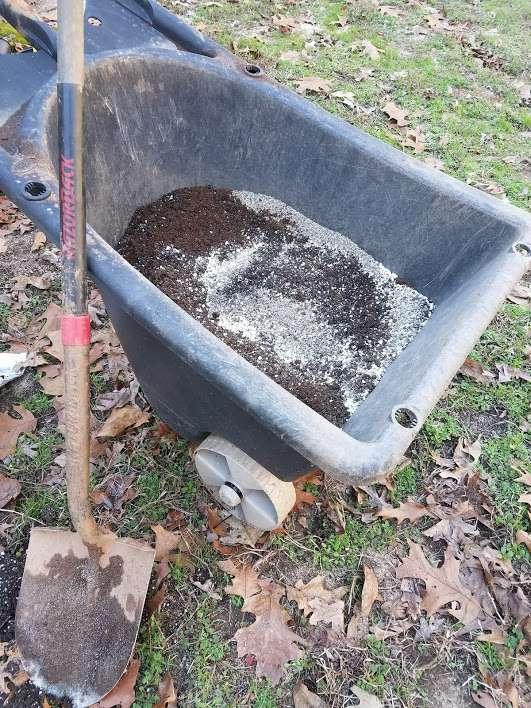 Seed Starting Mix in a Wheelbarrow (The Homestead Garden)